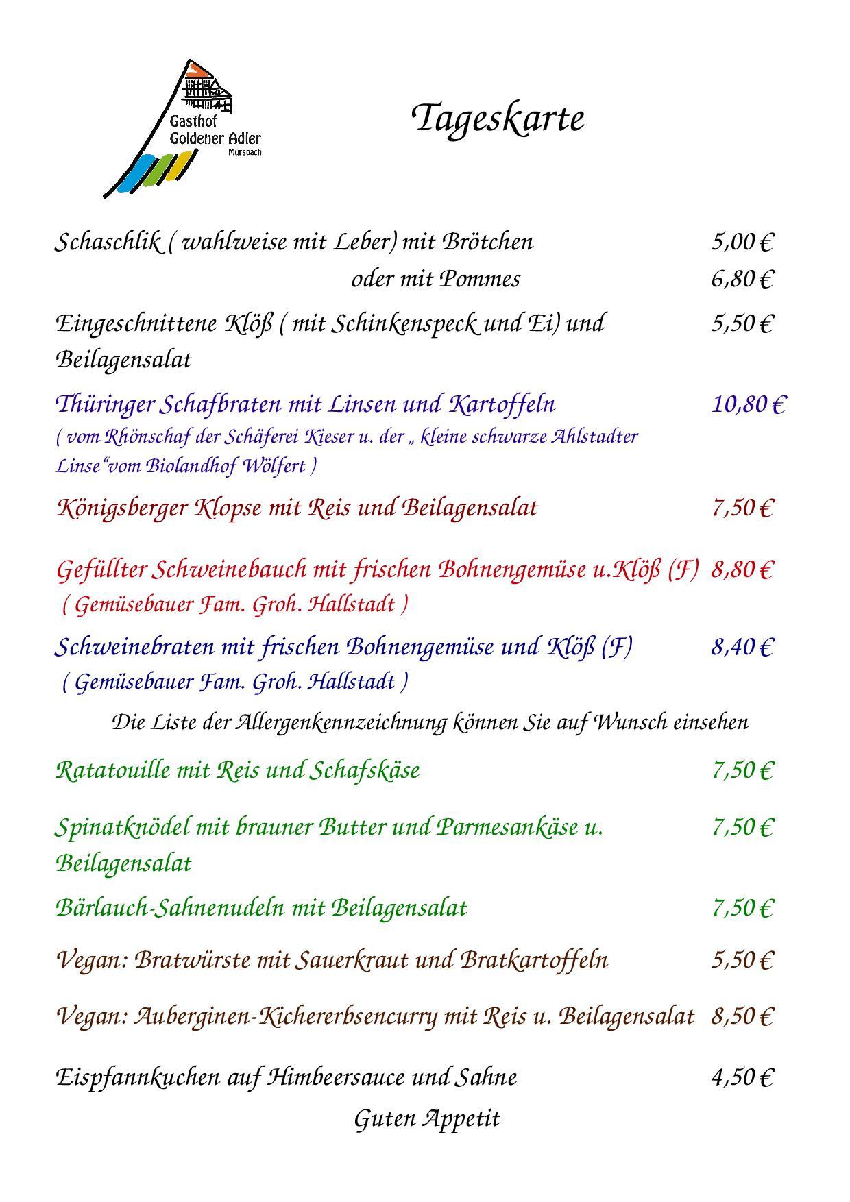 Speisekarte vom Donnerstag 7.09.2017
