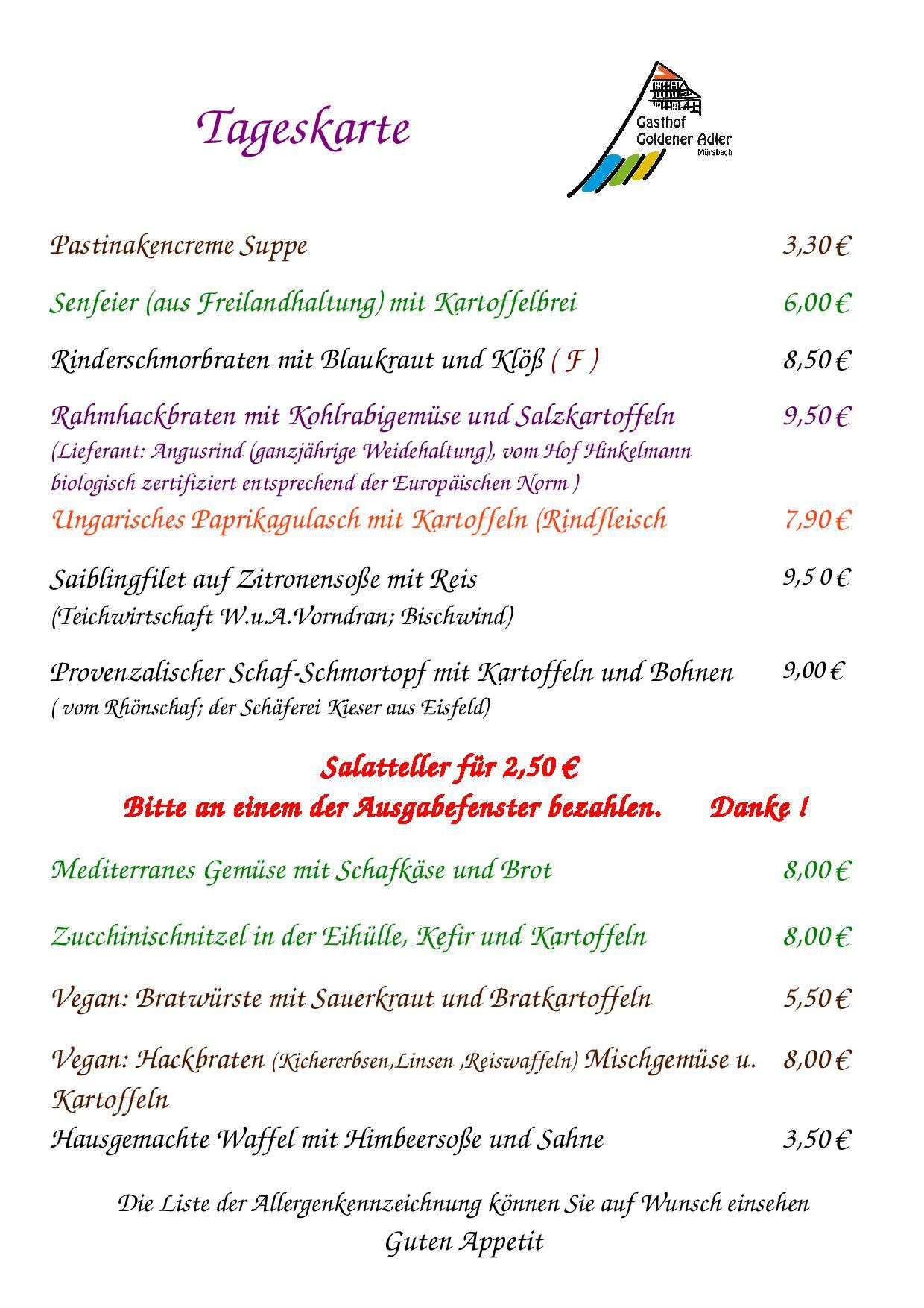 Speisekarte vom Donnerstag 3.08.2017