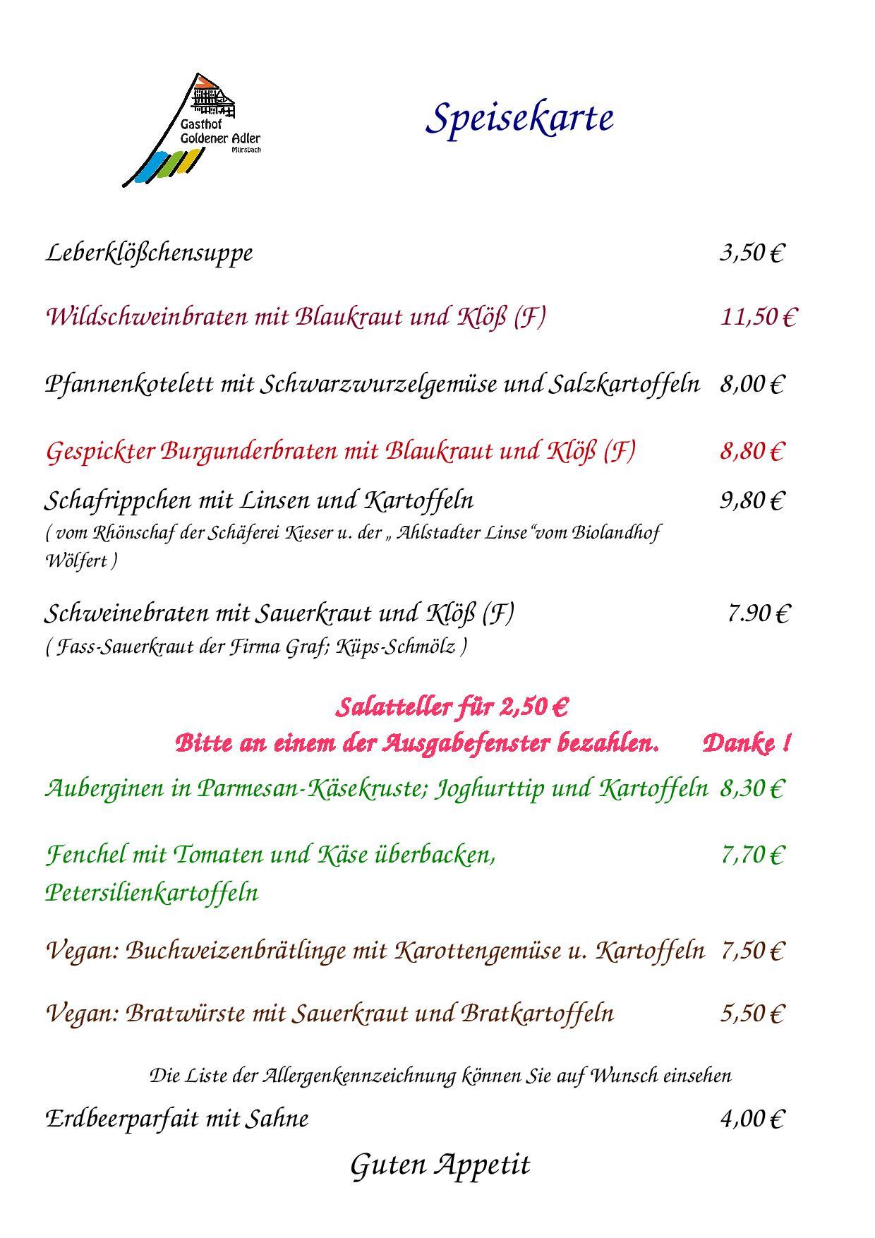 Speisekarte vom Donnerstag 23.08.2017