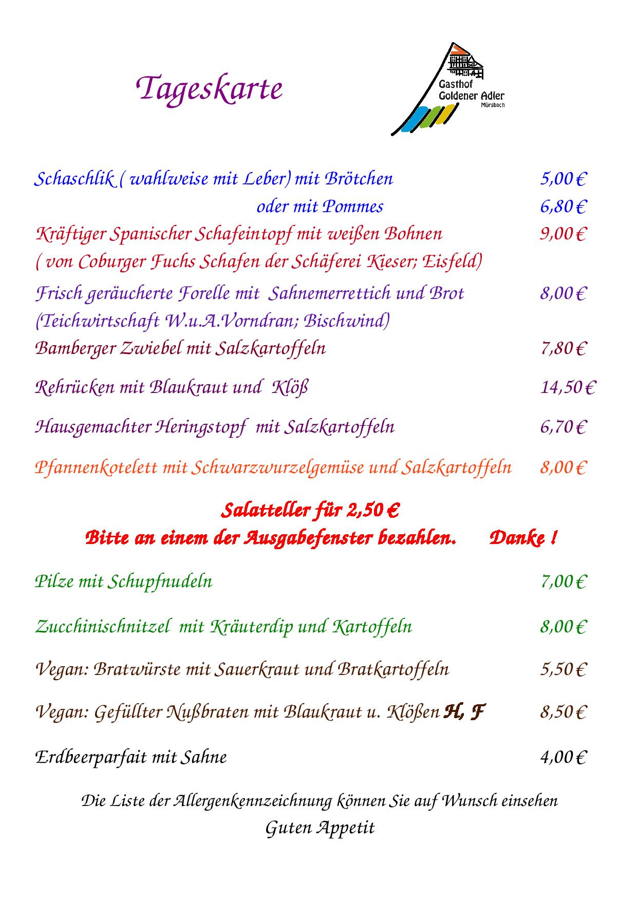Speisekarte vom Donnerstag 10.08.2017