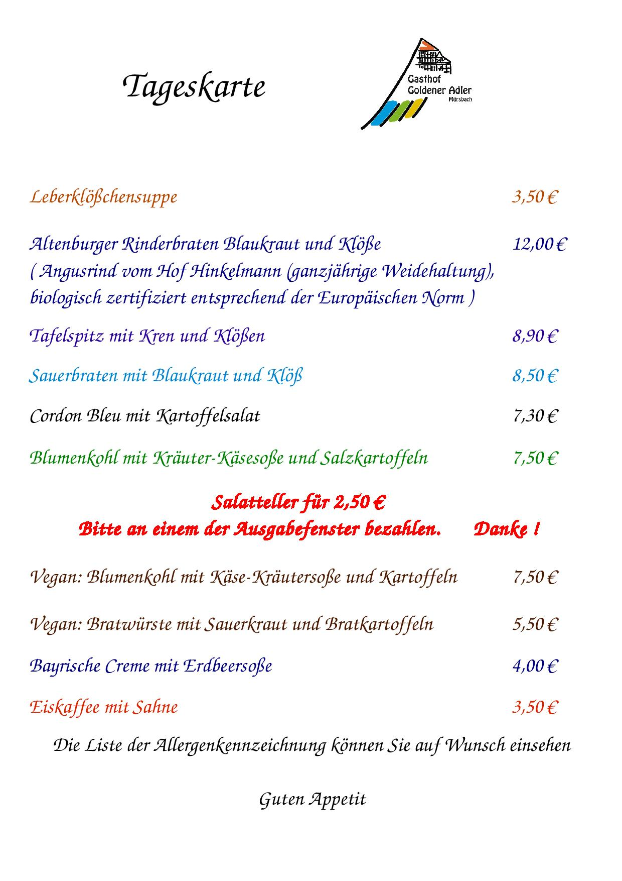 Speisekarte Donnerstag 29.06.2017