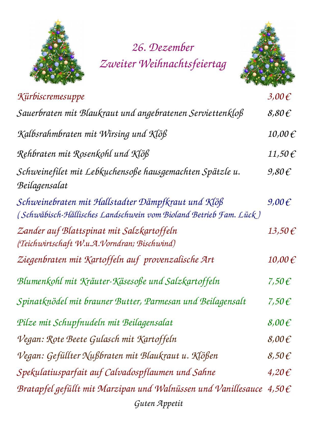 Speisekarte 2. Weihnachtsfeiertag