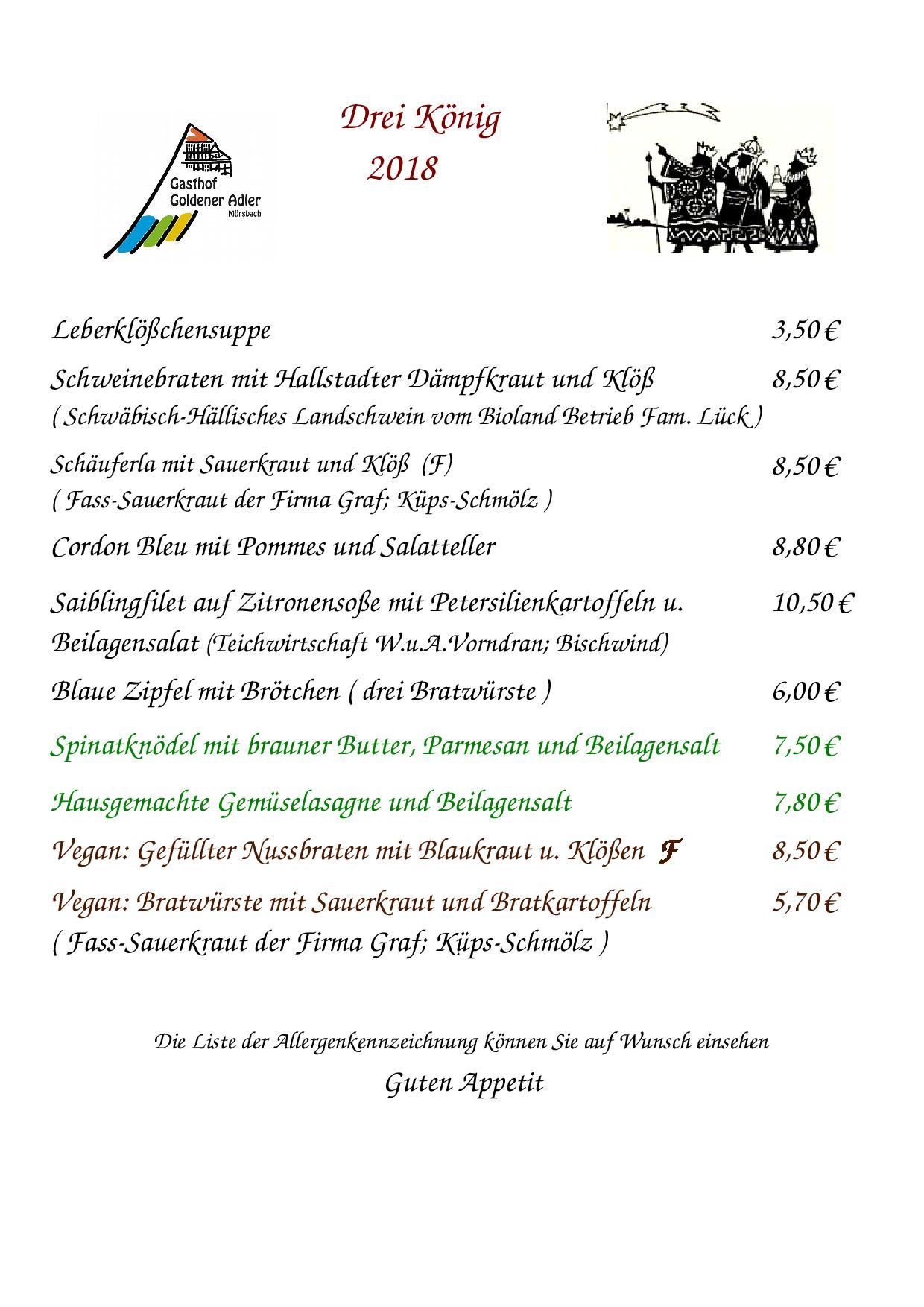 Speisekarte von Dreikönig 2018