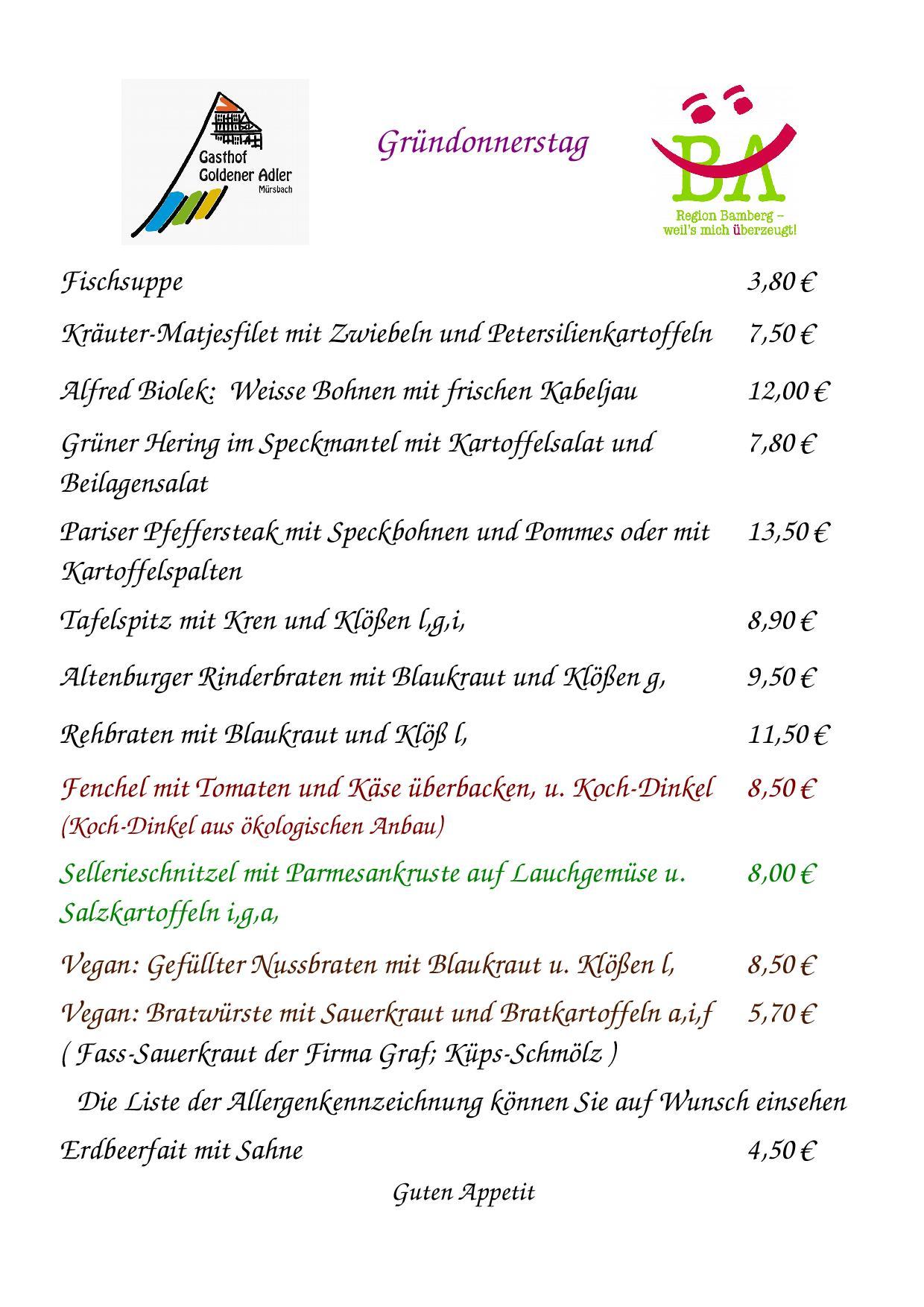 Speisekarte für Gründonnerstag 29.3.2018