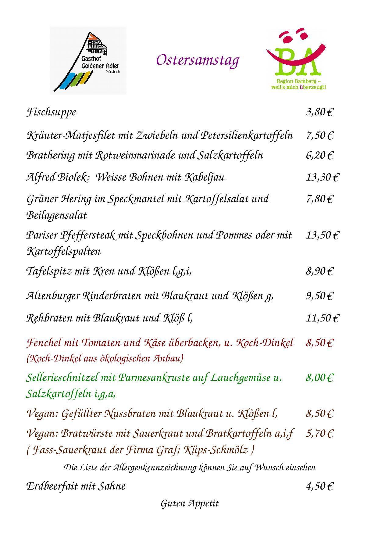 Speisekarte für Ostersamstag 31.3.2018