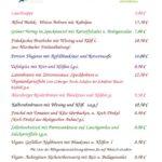 Speisekarte für Ostermontag 2.4.2018