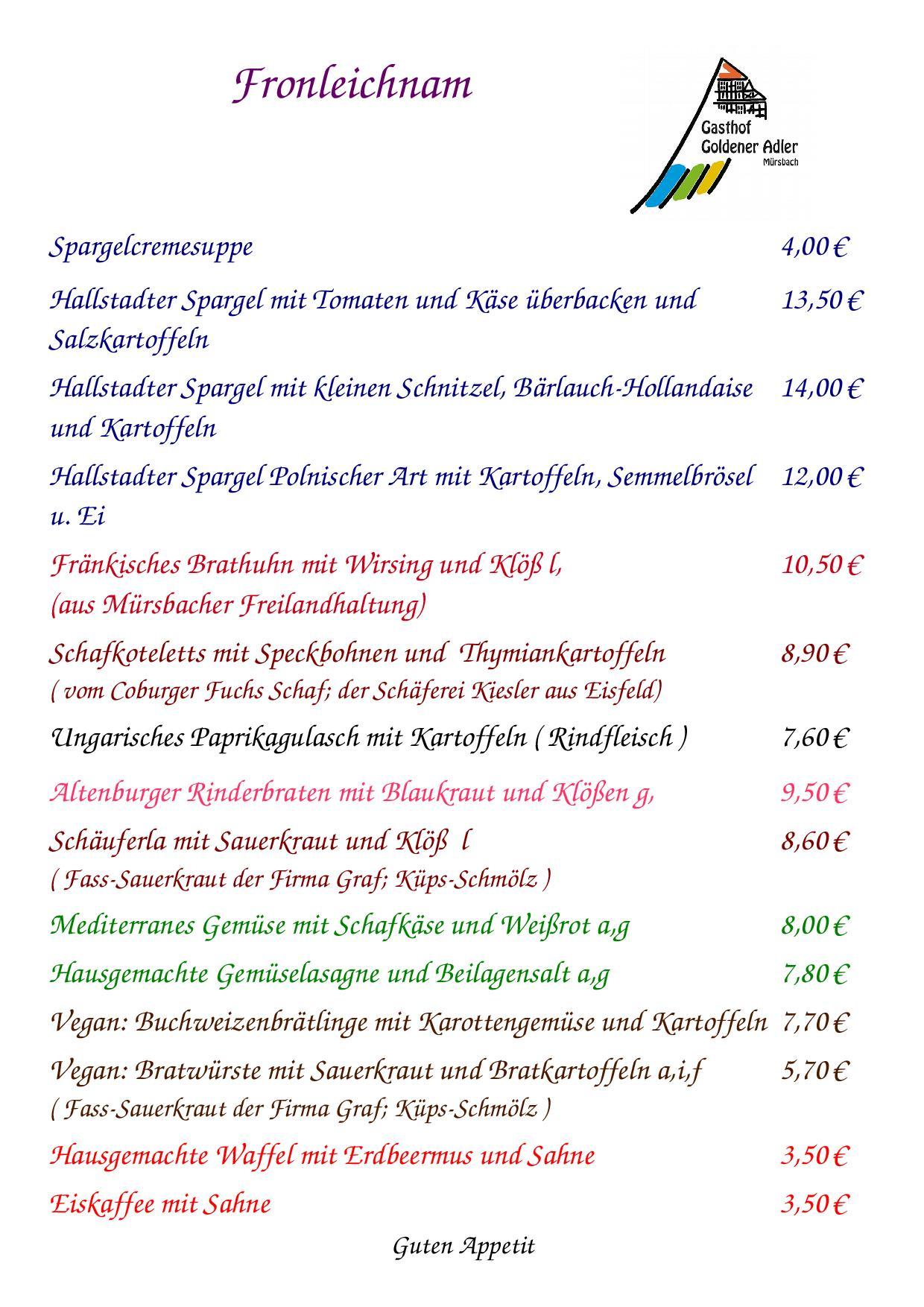 Speisekarte für Fronleichnam 2018