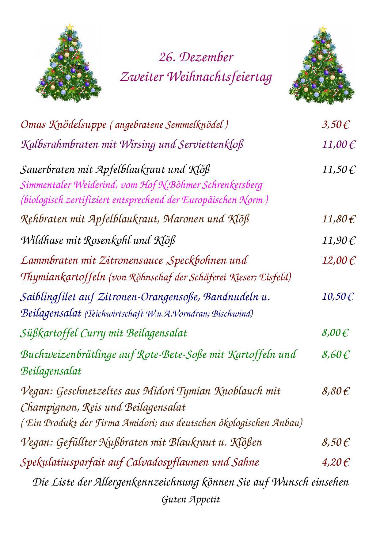Speisekarte für den 2. Weihnachtsfeiertag