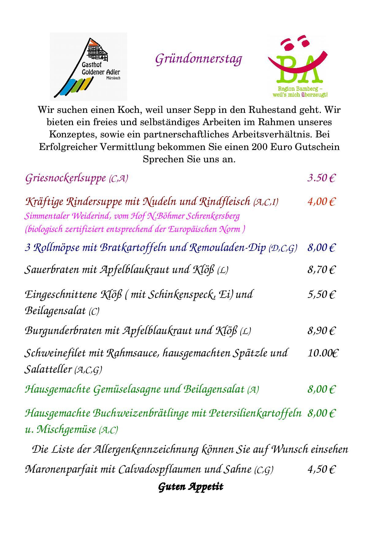 Speisekarte für Gründonnerstag 18.4.2019