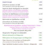 Speisekarte für Pfingstmontag 10.6.2019