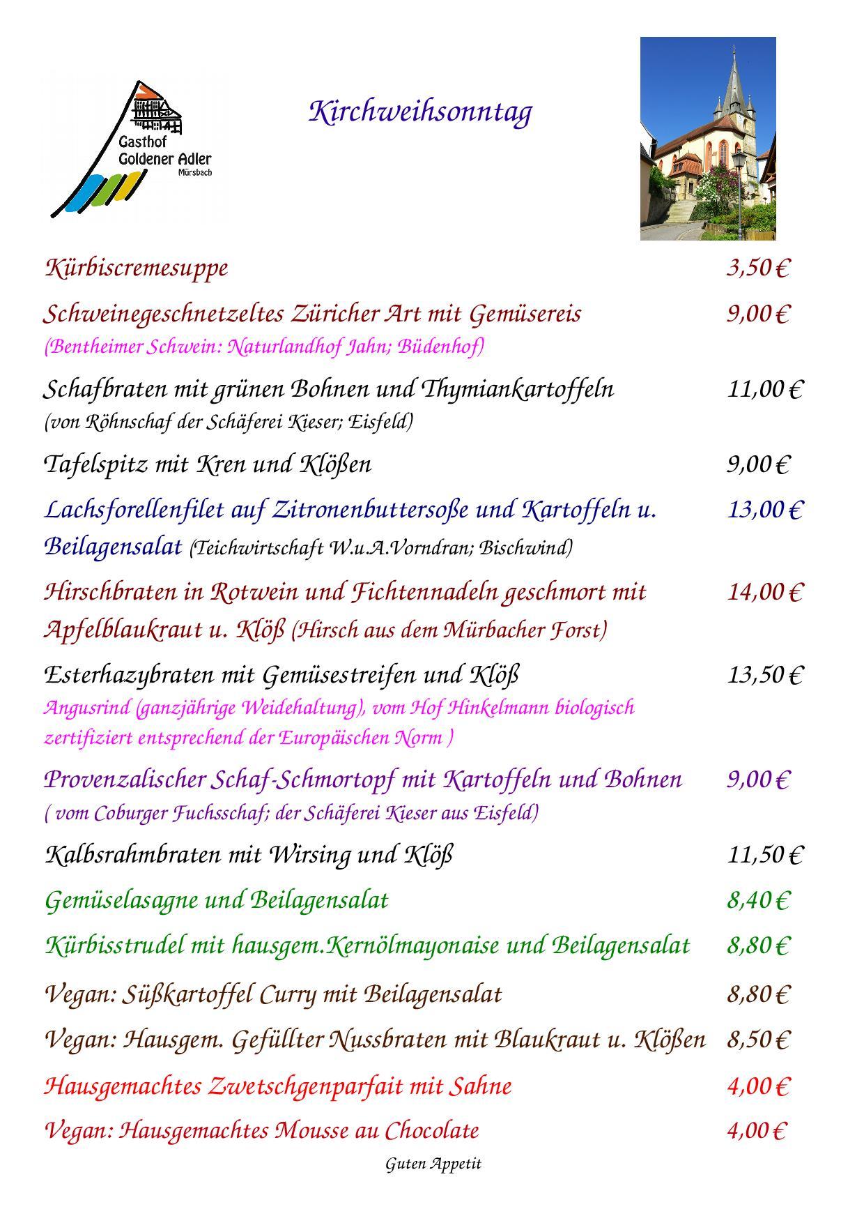 Speisekarte für Kirchweihsonntag