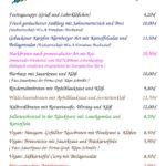 Speisekarte für Sonntag den 3. Advent
